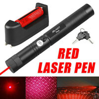 Tactical 1mW 650nm Red Laser Pointer Lazer Pen Beam Light+18650+Smart US Charger