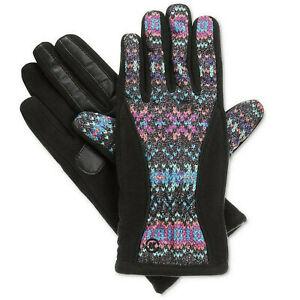 ISOTONER Black Geometric Matrix Fleece Nylon smarTouch THERMAflex Gloves S XS