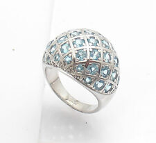 Size 8 Technibond Domed Blue Topaz Gemstone Ring Anti-tarnish Real 925 Silver