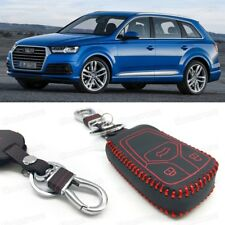 Leather Remote Car Key Cover Case Protector Holder Fob for Audi Q7 2016-2017 18