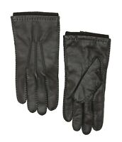 AMICALE Cashmere Lined Leather Gloves in Black Women's Size M 67905