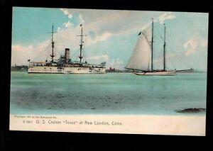 "NEW LONDON CT ~ RPPC ~ U S WHITE FLEET CRUISER ""TEXAS""  ~ 1905 ROTOGRAPH ~ 482ub"