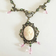 New Vintage Style Cameo Heart Floral Oval Crystals Charm Chain Necklace NE1492