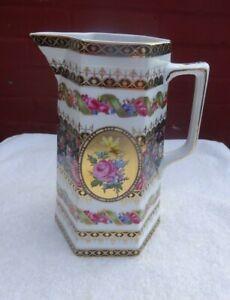 Vintage Tall porcelain jug white gold & black with Floral design signed L