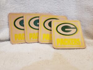 VINTAGE Green Bay Packers Set of 4 Leather Coasters, NEW IN PACKAGE!