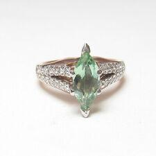 Estate 14K Rose, White Gold 0.95 Ct Natural Mint Green Tourmaline Diamond Ring