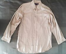 RALPH LAUREN PURPLE LABEL Woven Beige Ivory Solid Dress Shirt Sz Large $395