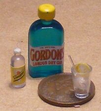 1:12th Glass & Bottle Of Gin & Tonic Water Dolls House Miniature Drink Accessory