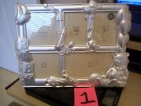 "GODINGER SILVER PLATED FRAME 3 1/2"" X 3 1/2"" BABY PICTURES HOLDS 5 PHOTO'S 3D **"