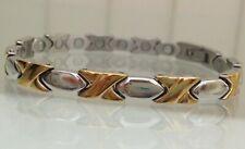 Kisses' Magnetic Ladies Womens Bracelet Gold Plated Steel 'Hugs and