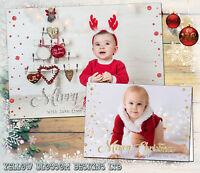 10 Personalised Photo Christmas Cards Xmas Flat Folded Children Kids Thank You
