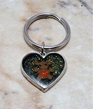 Vintage Embbeded Enamel Teddy Bear Heart Silver Tone Key Chain Metal Key Fob