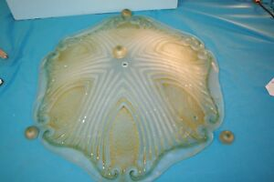 Light Shield. Decorative Hexagonal Large Green Cast Frosted Glass Shield Shade