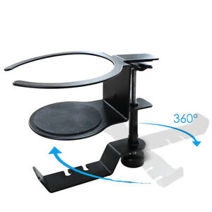 2 In 1 Metal Headphone Cup Holder Rotatable Hook and Cup Base Mount 360 Degree