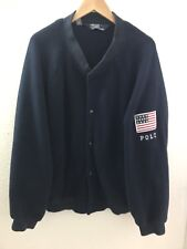 VINTAGE RALPH LAUREN Polo Flag Patch Fleece Varsity Bomber Jacket XL Blue Navy