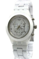 7fc19b29a05 New Swatch Irony Chrono Full Blooded White Skull Date Watch 43mm SVCW4000AG   160