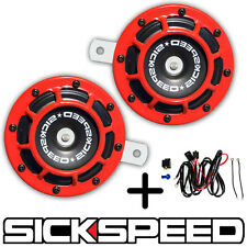 SICKSPEED 2PC RED SUPER LOUD GRILLE MOUNT COMPACT BLAST TONE HORN W HARNESS P5