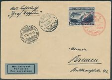 MI 185Ib LIECHTENSTEIN ZEPPELIN FLIGHT COVER BR9135