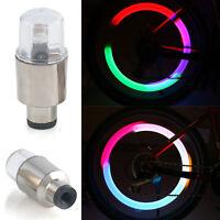 2x Neon LED Lampen Flash Reifen Rad Ventil Licht Für Auto Fahrrad Motorrad A+