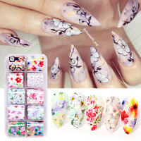 10 Rollen Nagel Folien Blumen Schmetterling Aufkleber Nail Art Transfer Stickers
