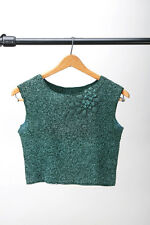 Vintage cropped handknit green sweater top vest with neck detail - S 40's 50's