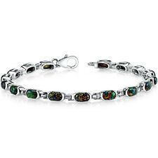Oravo Sterling Silver 4.75ct Created Black Opal Tennis Bracelet