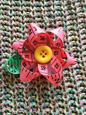 Pink Flower Brooch, Handmade Tape Measure Brooch: Sewing and Crafting Gift Ideas
