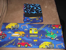 Pair of Construction Handmade Pillowcases Blue Trim Road Signs Trucks Rollers
