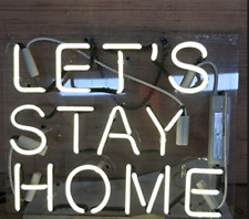 Let's Stay Home Neon Sign Lamp Light Acrylic Beer Bar With Dimmer