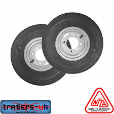 a Pair of 400 X 8 Inch Trailer Wheels and Tyres With 4 Ply Tyre and 115mm PCD 4.