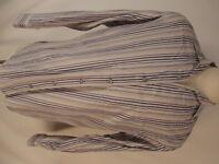 Ermenegildo Zegna Sport Mens Beige Stripe Long Sleeve Cotton Shirt L