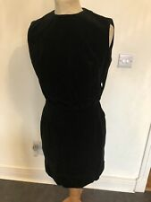 VINTAGE 60's VELVET BLACK WIGGLE MOD MINI EVENING DRESS UK 10 SMALL