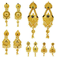 Indian Traditional Ethnic Gold Plated Earrings Set Women Bollywood Jewelry