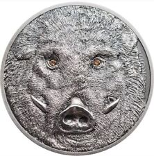 MONGOLIA 2018 1 Oz Silver WILD BOAR SUS SCROFA Antique Finish Coin.