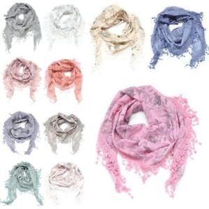 Cotton Dreieckstuch Halstuch Tuch Schal Stola Fransen Spitze Faltenschal Blumen