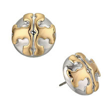 New Tory Burch Applied Logo Stud Earrings in Silver & Gold