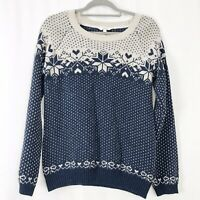 Fat Face Blue & White Nordic Fair Isle Knitted Jumper Cotton Wool Mix UK 12