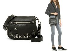 $495 Marc Jacobs Recruit Chipped Stud Leather Small Crossbody Saddle Bag BLACK