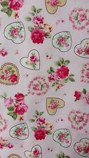 """*VINTAGE PINK ROSE FLEUR HEARTS* 100% cotton poplin fabric by the metre 45"""" wide"""