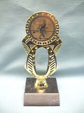 Male Track Runner trophy black and gold jeweled with black wood base