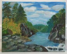More details for original river landscape painting on 50 x 40 cm canvas. i7p147.