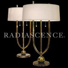 PR ART DECO STREAMLINE MODERN BRASS MARBLE TABLE LAMP DONALD DESKEY 1930s GEDDES