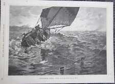 Venitianische Fischer Fischer Fischerboot HOLZSTICH von 1885 Venetien Venetio