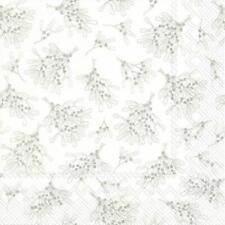 Paper Napkins Mistletoe White Silver Disposable Festive Lunch Party Serviettes