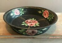 Vtg Original Tole Toleware Lg Bowl Decorative Metal Bowl Hand Painted Roses