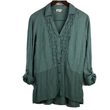 """Anthropologie Meadow Rue Large """"Reha"""" Button Front Tunic Blue Green Roll Tab"""