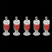1:12 Scale Miniature Dollhouse Clear Candy Jars Kitchen Accessories Red