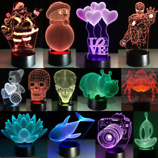 Acrylic 3D Night Light Touch Switch Desk LED Lamp 7Colour Changing USB XMAS Gift