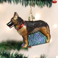 OLD WORLD CHRISTMAS GERMAN SHEPHERD DOG GLASS CHRISTMAS ORNAMENT 12212