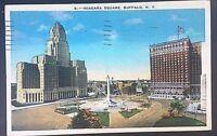 Vintage Postcard Niagara Square Buffalo New York Postmark 1938 C44